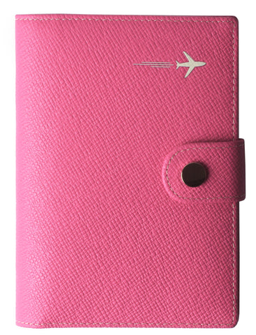 Leather Rfid Blocking Travel Passport Holder Cover Slim ID Card Case Wallet Crosshatch BG1233 Rose Red - Borgasets