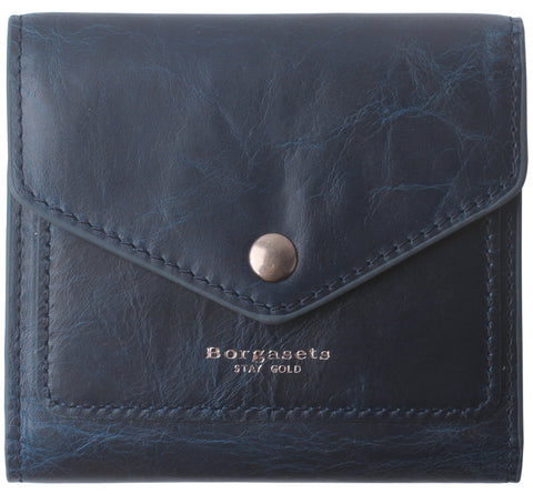 Small Leather Wallet for Women, RFID Blocking Women's Credit Card Holder Mini Bifold Pocket Purse BG1023 Oil Wax Blue - Borgasets