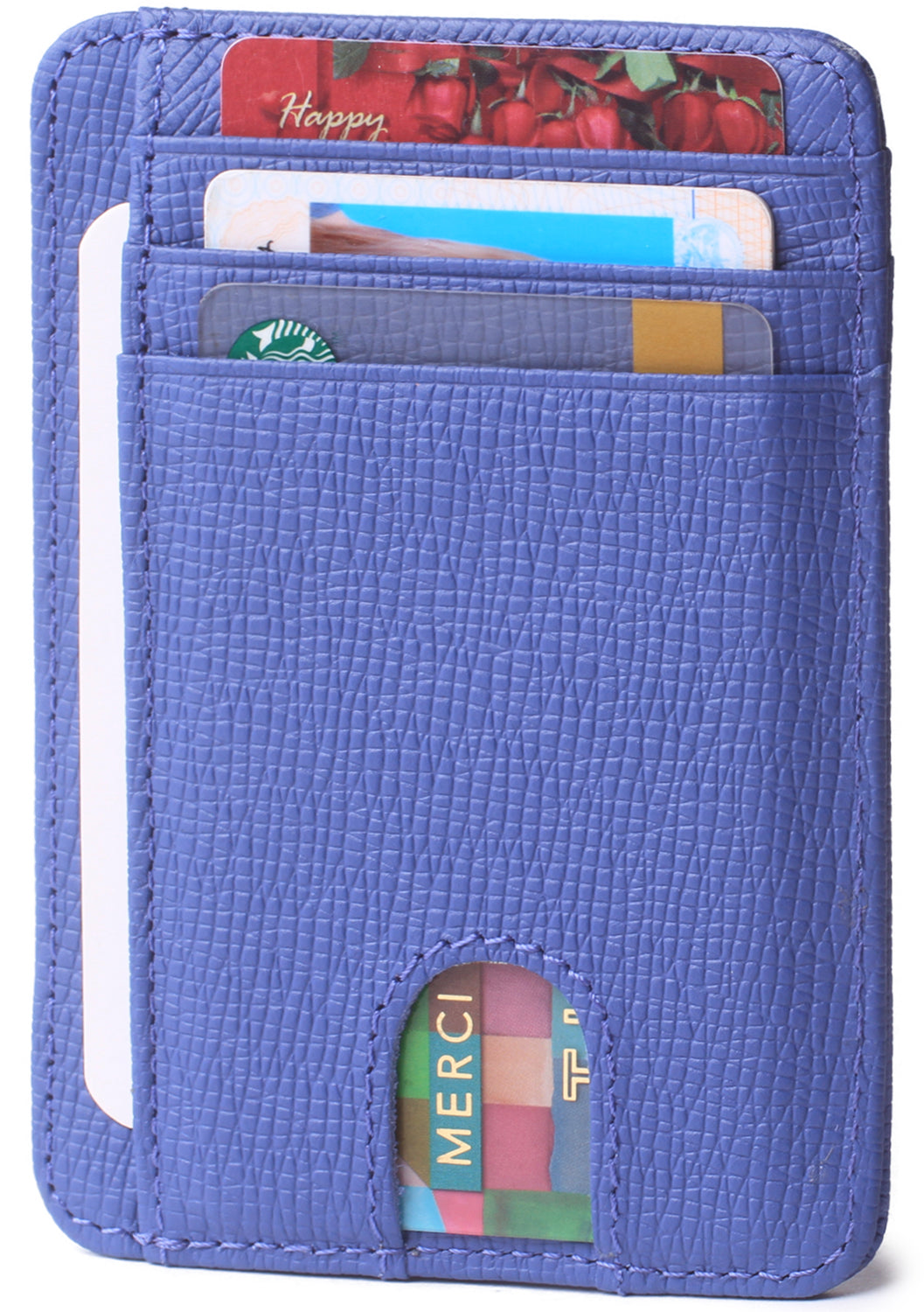 Slim Minimalist Front Pocket RFID Blocking Leather Wallets for Men & Women BG2288 Cross Light Blue - Borgasets