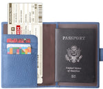 Leather Rfid Blocking Travel Passport Holder Cover Slim ID Card Case Wallet Crosshatch BG1233 Limited Blue - Borgasets