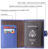 Leather Rfid Blocking Travel Passport Holder Cover Slim ID Card Case Wallet Crosshatch BG1233 Cross Light Blue - Borgasets