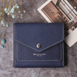Small Leather Wallet for Women, RFID Blocking Women's Credit Card Holder Mini Bifold Pocket Purse BG1023 Crosshatch Blue - Borgasets