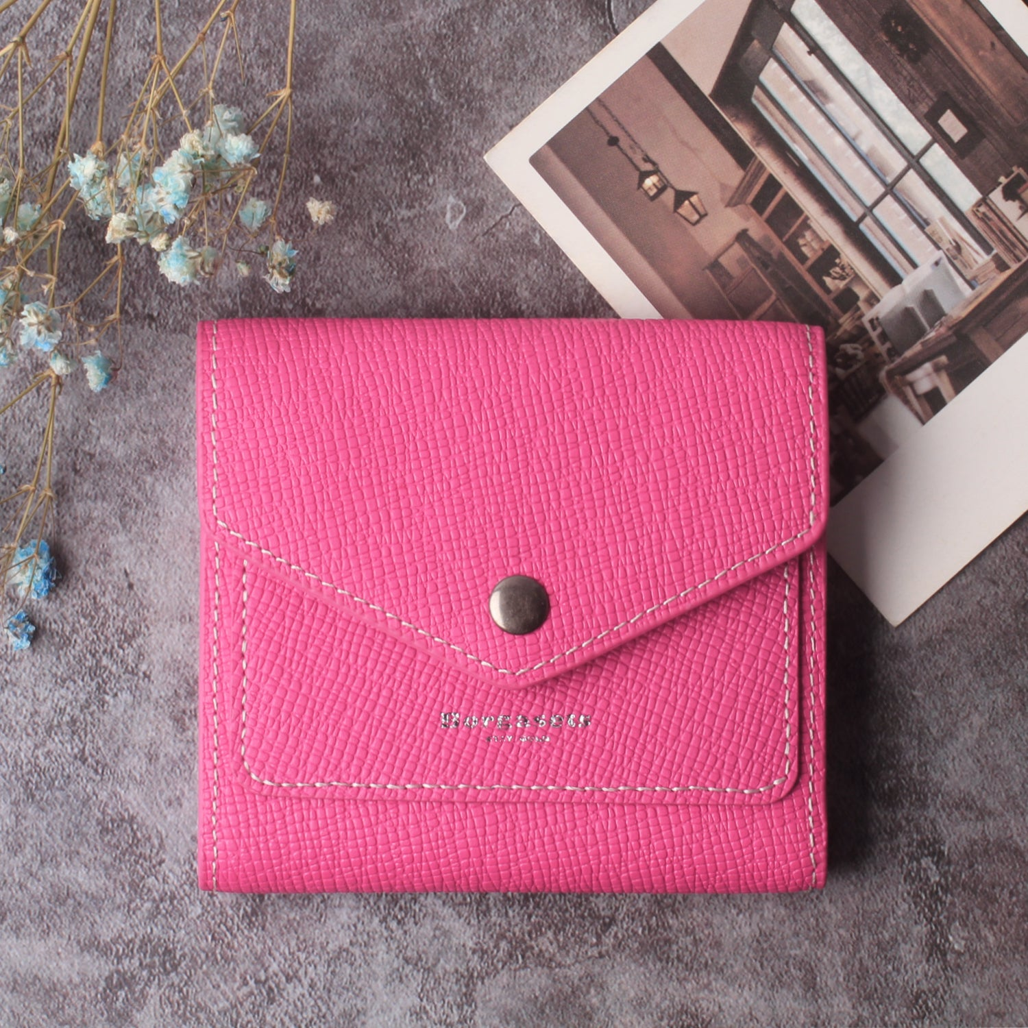 Small Leather Wallet for Women, RFID Blocking Women's Credit Card Holder Mini Bifold Pocket Purse BG1023 Crosshatch Pink - Borgasets