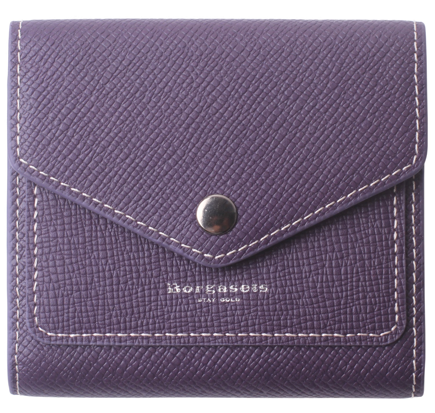 Small Leather Wallet for Women, RFID Blocking Women's Credit Card Holder Mini Bifold Pocket Purse BG1023 Crosshatch Purple - Borgasets