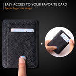 Slim Minimalist Front Pocket RFID Blocking Leather Wallets for Men & Women BG2288 Litchi Black - Borgasets