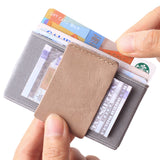 Slim Wallet Front Pocket Minimalist Thin Credit Card Holder Mini Size Men and Women Apricot - Borgasets