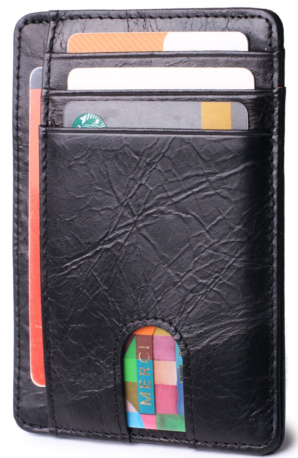 Slim Minimalist Front Pocket RFID Blocking Leather Wallets for Men & Women Wax Oil Black - Borgasets