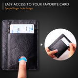 Slim Minimalist Front Pocket RFID Blocking Leather Wallets for Men & Women BG2288 Wax Oil Black - Borgasets