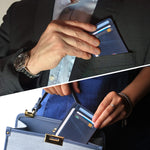 Slim Minimalist Front Pocket RFID Blocking Leather Wallets for Men & Women BG2288 Oil Wax Blue - Borgasets