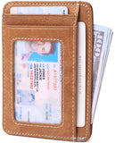 Slim Minimalist Front Pocket RFID Blocking Leather Wallets for Men & Women Oil Wax Brown - Borgasets