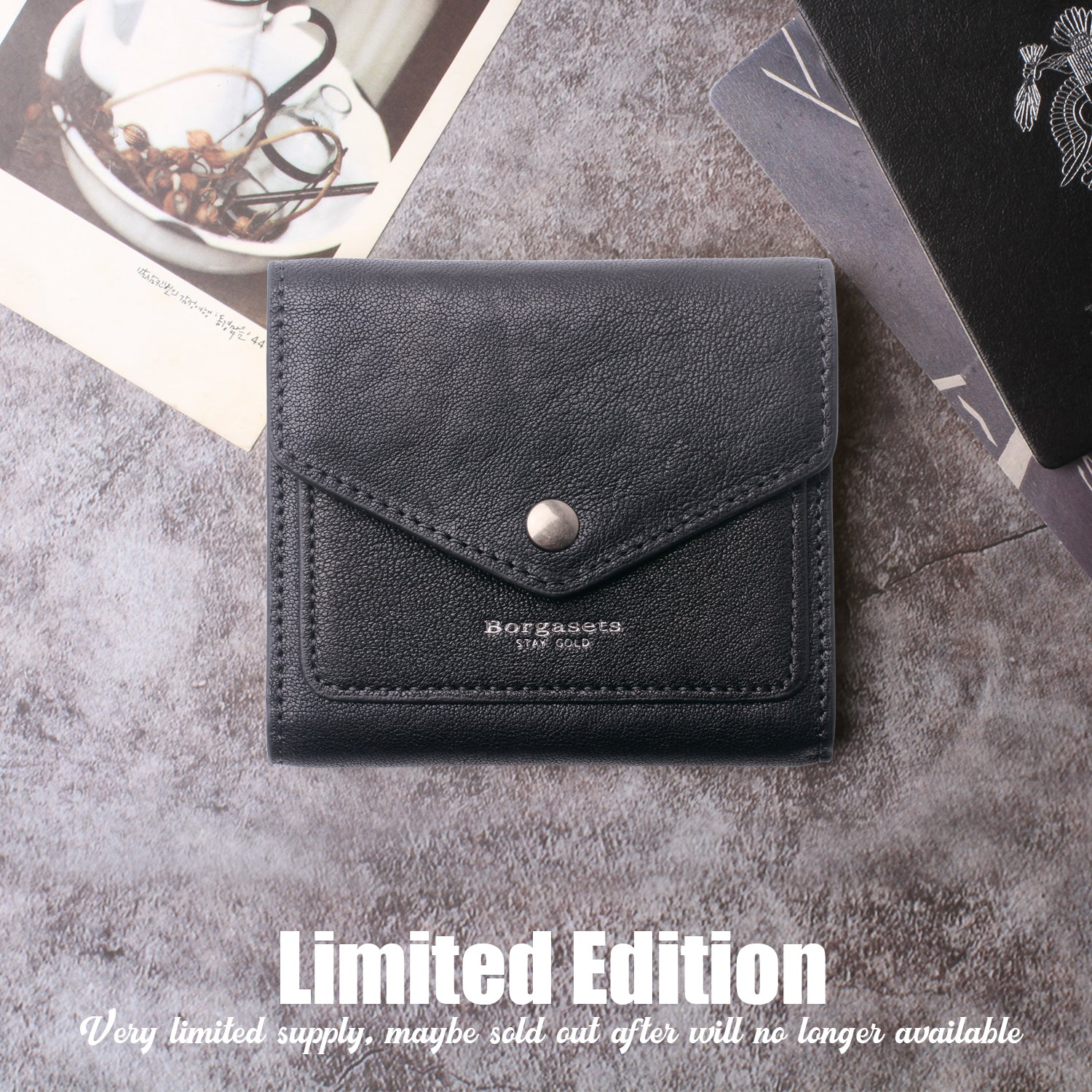 Small Leather Wallet for Women, RFID Blocking Women's Credit Card Holder Mini Bifold Pocket Purse BG1023 Tanned black - Borgasets