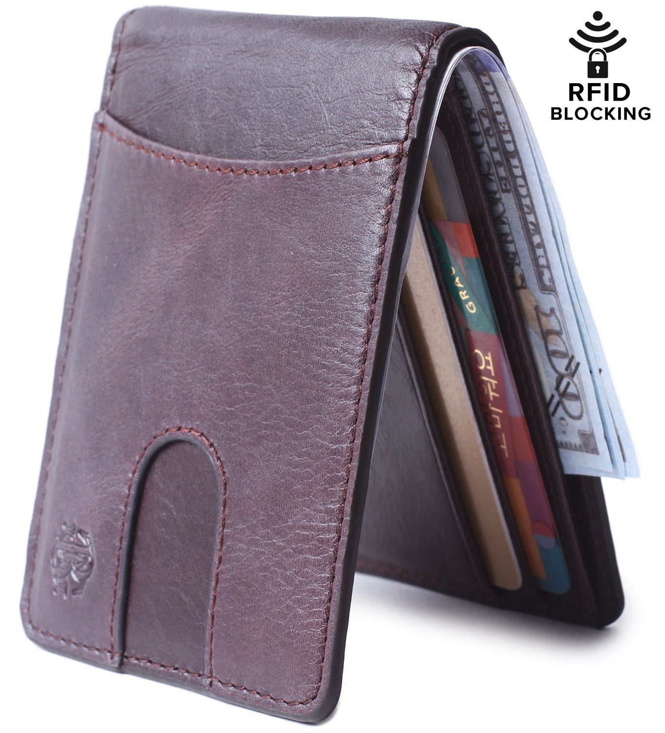 RFID Blocking Bifold Slim Genuine Leather Thin Minimalist Front Pocket Wallets for Men Money Clip - Made From Full Grain Leather Unisex Rosswood