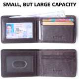 RFID Blocking Bifold Slim Genuine Leather Thin Minimalist Front Pocket Wallets for Men Money Clip - Made From Full Grain Leather Unisex Rosswood - Borgasets