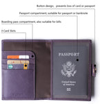 Leather Rfid Blocking Travel Passport Holder Cover Slim ID Card Case Wallet Crosshatch BG1233 Purple - Borgasets