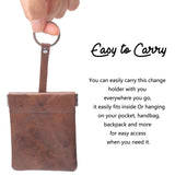 Leather Squeeze Coin Purse Pouch Change Holder For Men & Woman With Key Chain and Key Ring Small Size BG3022 Dark Brown - Borgasets