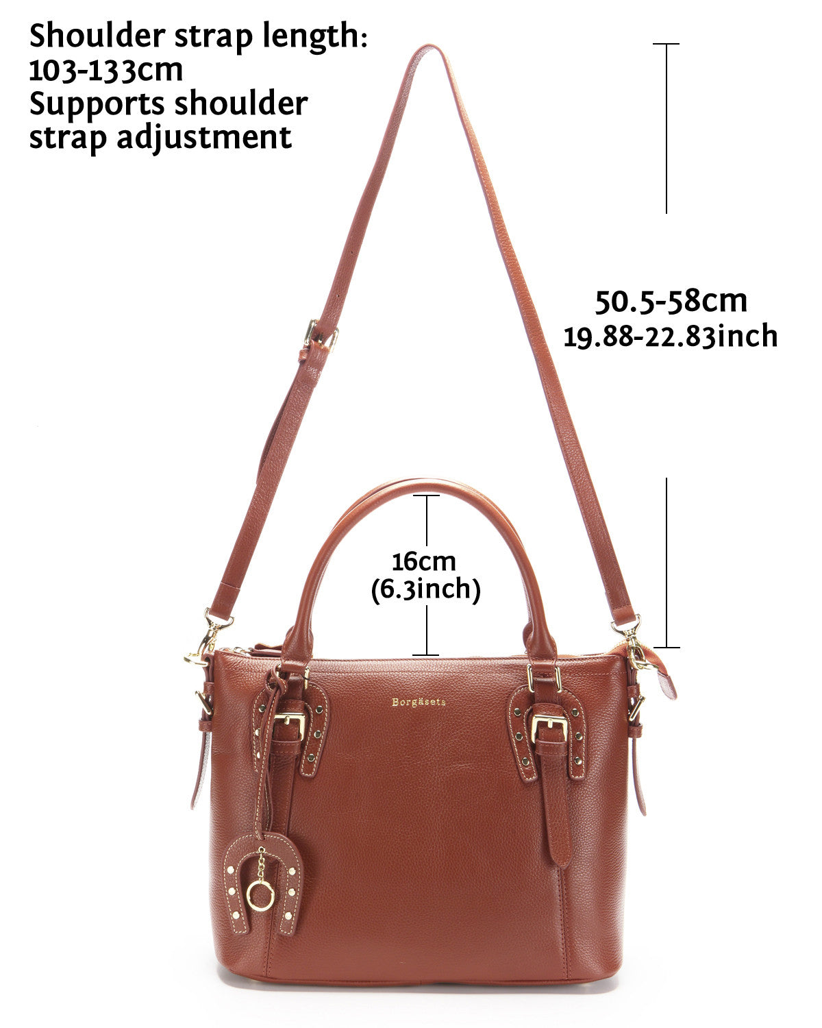 Horseshoe Womens Vintage Tote Shoulder Bag Top Handle Crossbody Handbags Large Capacity With Key Chain Brown - Borgasets