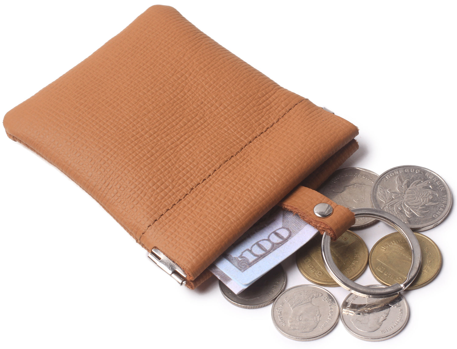Leather Squeeze Coin Purse Pouch Change Holder For Men & Woman With Key Chain and Key Ring Small Size BG3022 Light Brown - Borgasets