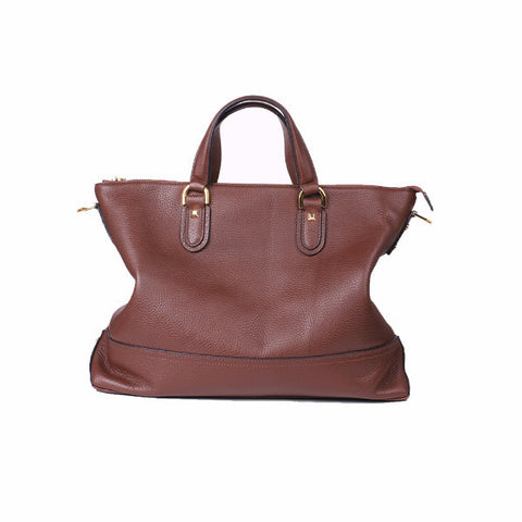 Women Top Handles Cross Body Zip Briefcase Brown - Borgasets