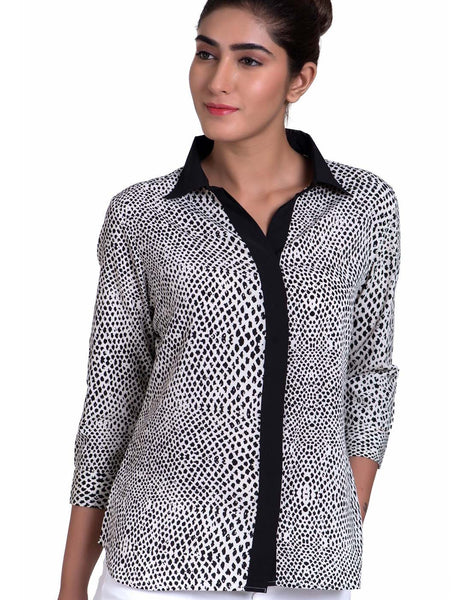 TheOfficeWalk Print Shirt With White Contrast Placket