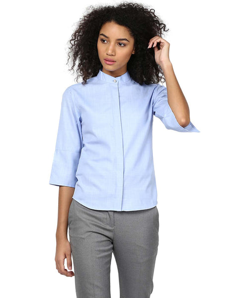 Blue Band Neck 3/4th Sleeve Shirt