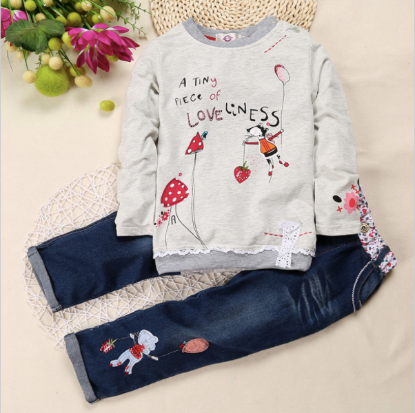Cartoon Design Long-Sleeve Shirt and Jeans Set - Darling Little One