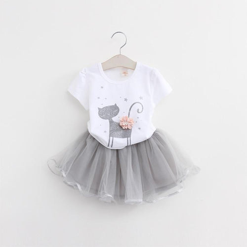 Kitten Printed T-Shirts & Tutu Skirt 2pcs (more colors) - Darling Little One