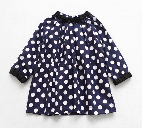 Navy Polka Dot Dress - Darling Little One
