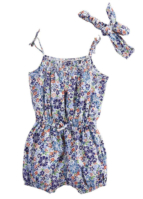 Floral Print Romper with Headband - Darling Little One