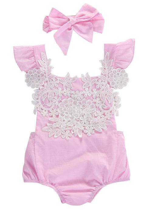 Pink Lace Floral Romper with Headband - Darling Little One