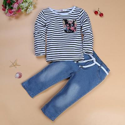 Striped Floral Pocket Tee with Jeans - Darling Little One