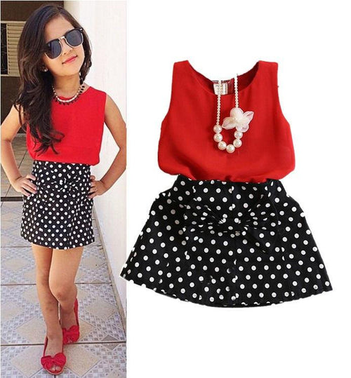 Black Polka Dot Skirt Set (2pcs) - Darling Little One