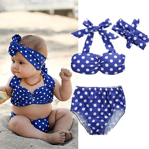 Blue Polka Dot Swimsuit - Darling Little One