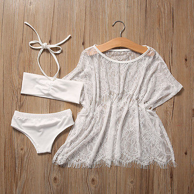 Girls Bikini and Cover-up 3 pc. Set (White or Black) - Darling Little One