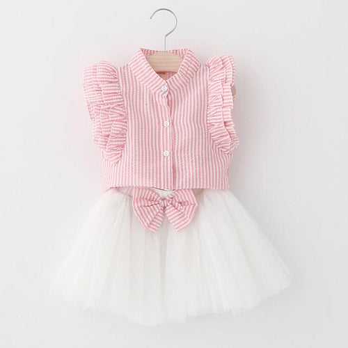 Pinstripe Butterfly Sleeve and Skirt Set (more colors) - Darling Little One