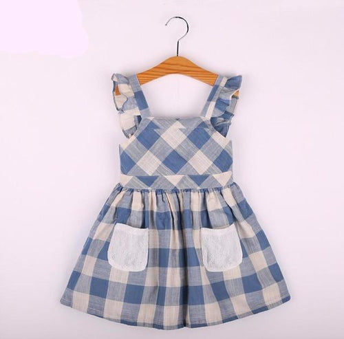 Plaid Sleeveless Dress - Darling Little One