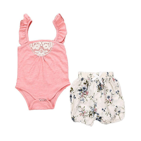 Floral Print Romper with Headband
