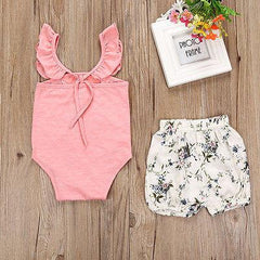 Butterfly Sleeve Floral Short Set - Darling Little One