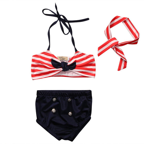 Red Stripe and Navy (3 pcs) - Darling Little One