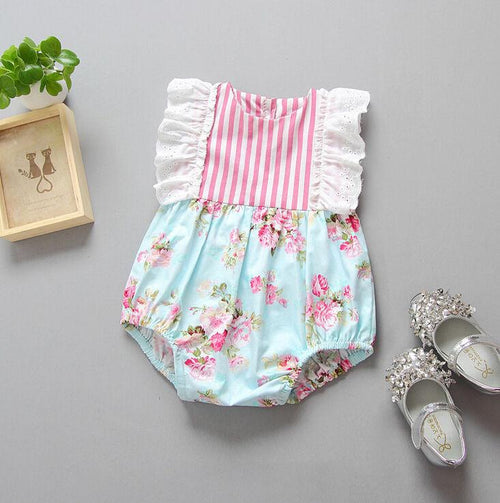 Ruffle Sleeve Floral Romper - Darling Little One