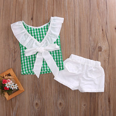 Gingham Ruffle Set (Pink or Green) - Darling Little One