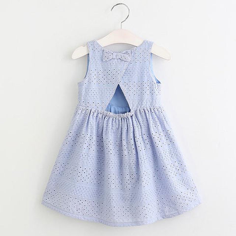 Blue Plaid Big Bow Dress