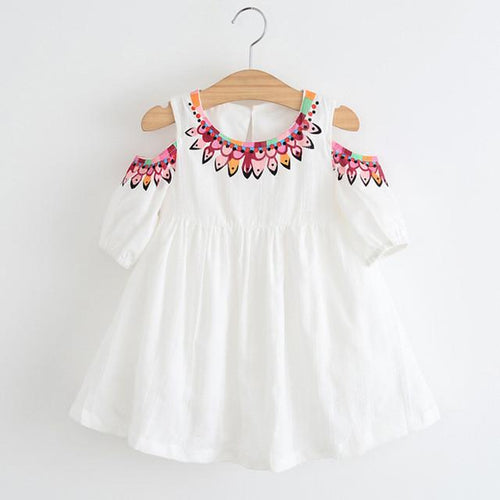 Cold Shoulder Dress (pink or white) - Darling Little One