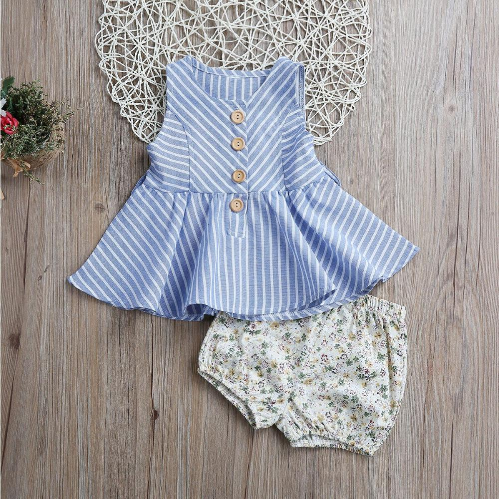 Button Striped Shirt with Shorts - Darling Little One