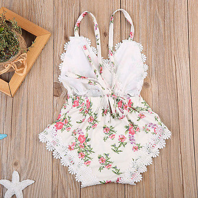 Floral and Lace Romper - Darling Little One