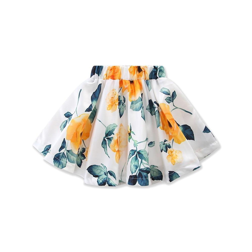 Floral Mini Skirt Outfits 2Pcs - Darling Little One