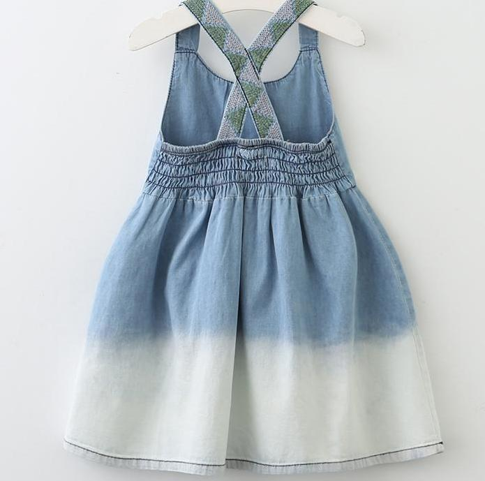 Cross-back Denim Dress - Darling Little One