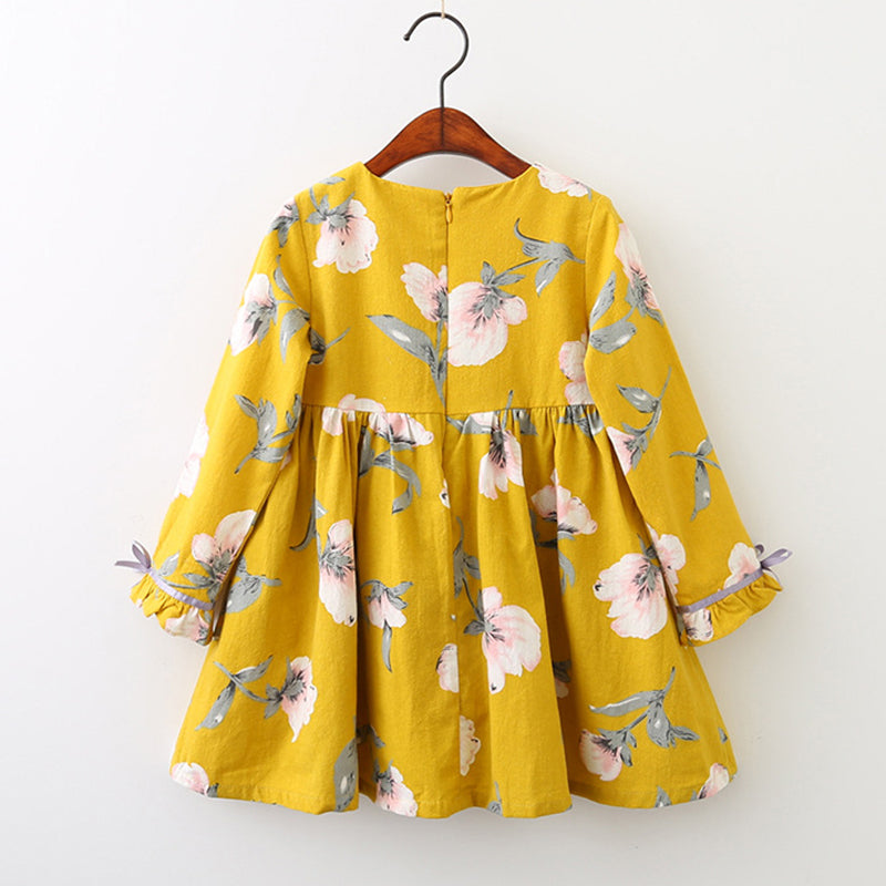 Floral Bell Sleeve Dress (Blue or Yellow) - Darling Little One