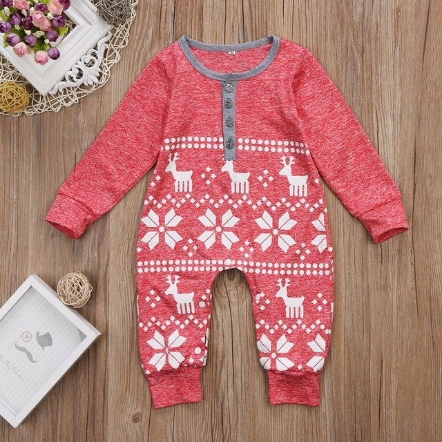 Snowflake Romper (Red or Blue) - Darling Little One