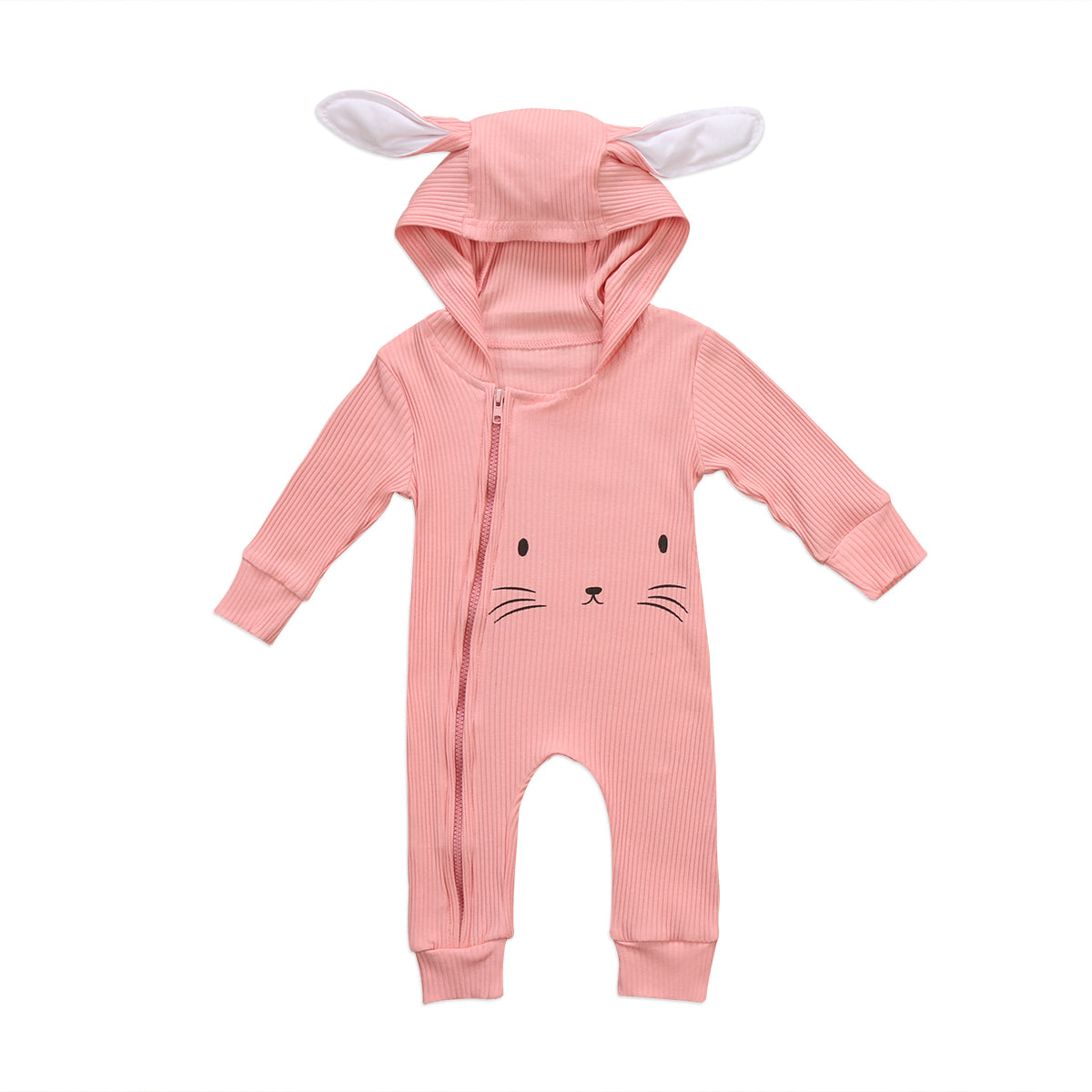 Rabbit Romper (Pink and Grey) - Darling Little One