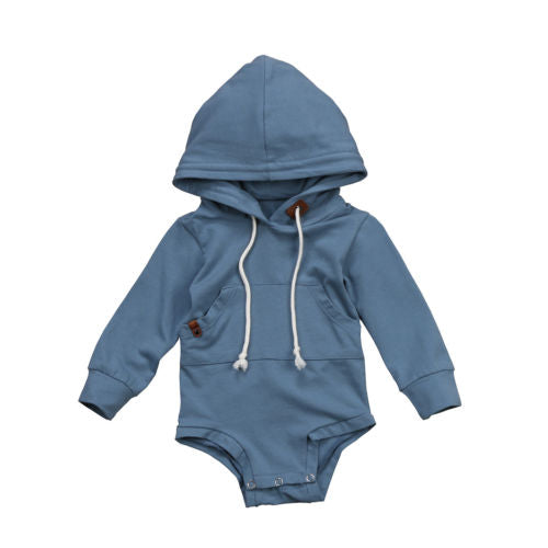 Blue Hoodie Sweatshirt Romper - Darling Little One